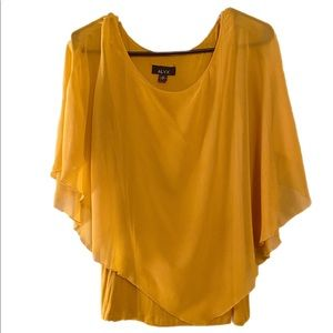 Alyx Yellow illusion blouse with poncho and tank